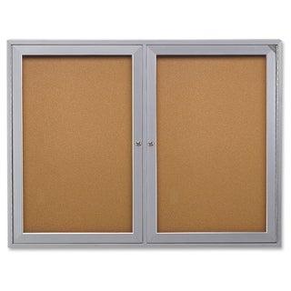 Ghent 2-Door Enclosed Indoor Bulletin Board - Satin Aluminum