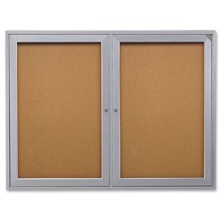 Ghent 2-Door Enclosed Indoor Bulletin Board - Satin Aluminum https://ak1.ostkcdn.com/images/products/12120985/P18980691.jpg?impolicy=medium