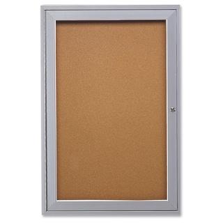 Ghent 1-Door Enclosed Indoor Bulletin Board - Satin Aluminum