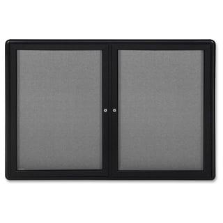 Ghent 2-Door Ovation Enclosed Fabric Bulletin Board - Black