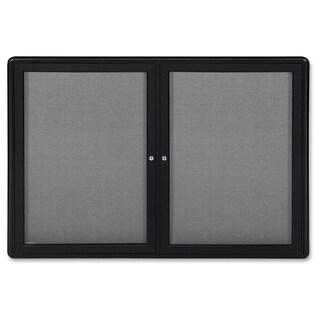 Ghent 2-Door Ovation Enclosed Fabric Bulletin Board - Black