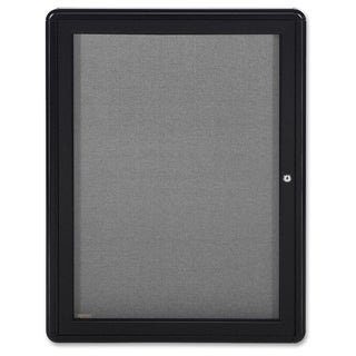 Ghent 1-Door Ovation Enclosed Fabric Bulletin Board - Black