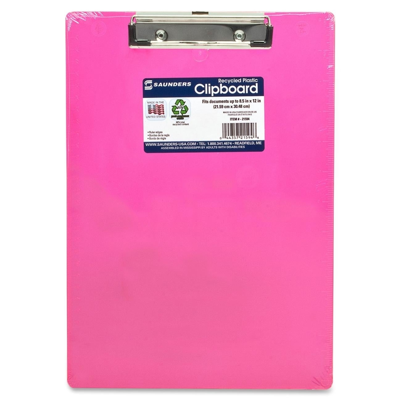 Saunders Neon Plastic Clipboard - Neon Pink (Master)