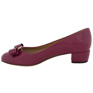Salvatore Ferragamo Vara Patent Leather Pumps in Burgundy