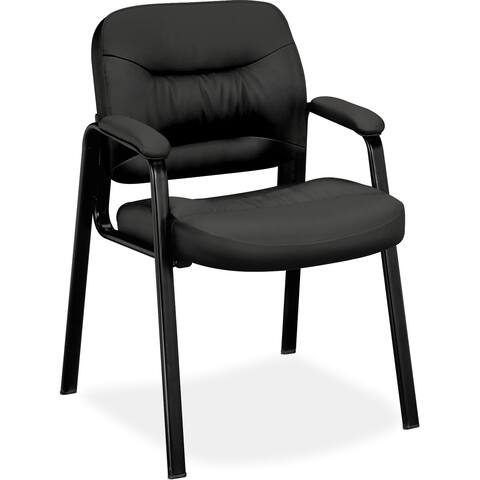 Basyx by HON Leather Guest Chair - Black