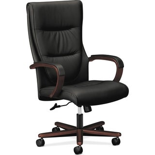 Basyx by HON HVL844 High-back Wood Base Executive Chair - Mahogany