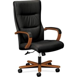 Basyx by HON HVL844 High-back Wood Base Executive Chair - Bourbon Cherry