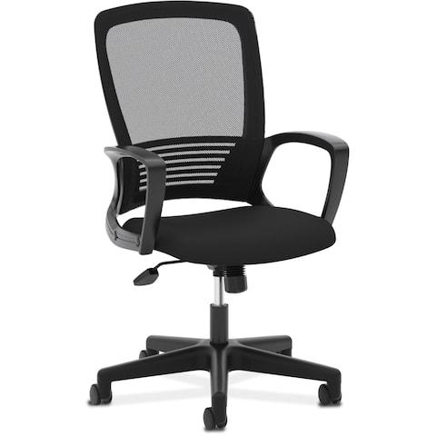 HON Mesh High-Back Task Chair, Stationary Loop Arms, in Black