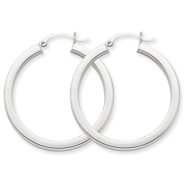 Versil 14k White Gold 3mm Polished Square Hoop Earrings