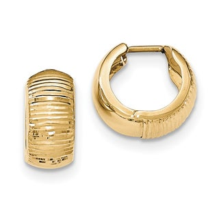 Versil 14k Yellow Gold Textured and Polished Hinged Hoop Earrings