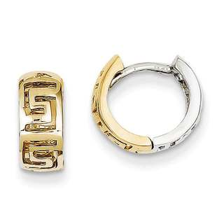 Versil 14k Two-tone Gold Greek Key Hinged Hoop Earrings