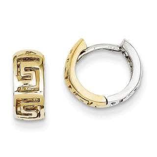 Versil 14k Two-tone Gold Greek Key Hinged Hoop Earrings|https://ak1.ostkcdn.com/images/products/12121252/P18980932.jpg?impolicy=medium