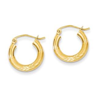 Versil 14k Yellow Gold Satin and Diamond-cut 3mm Round Hoop Earrings