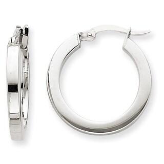 Versil 14k White Gold Square Tube Hoop Earrings