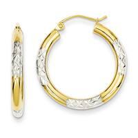 Versil 14k Two-tone Gold Diamond-cut 3x25mm Hoop Earrings