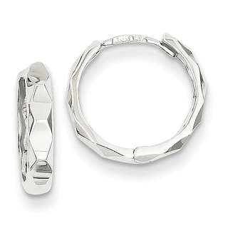 Versil 14k White Gold Diamond-cut Hoop Earrings
