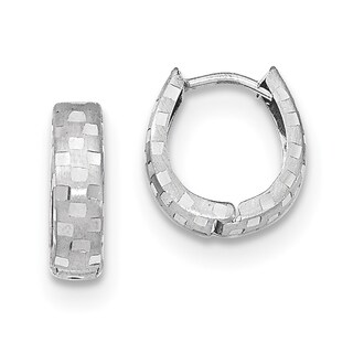Versil 14k White Gold Diamond-cut 4mm Patterned Hinged Hoop Earrings