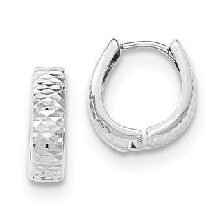 Versil 14k White Gold Textured and Polished Hinged Hoop Earrings
