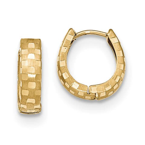 14K Yellow Gold Polished and Satin with Diamond Cut 4mm Patterned Hinged Hoop Earrings by Versil