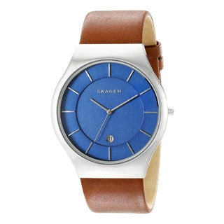 Skagen Men's Grenen Brown Leather Quartz Watch