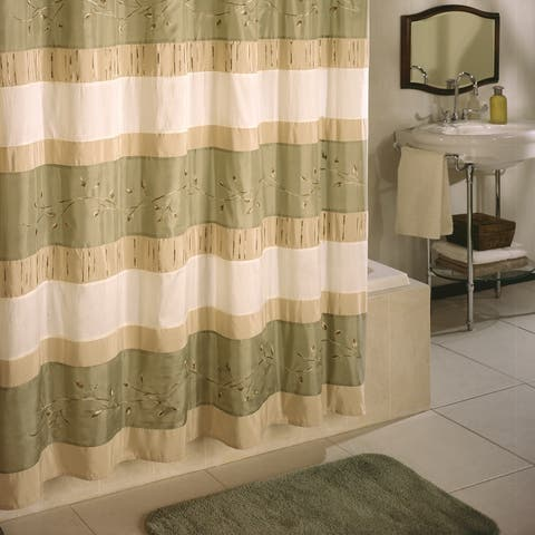 Excell Wasabi Stripe Embroidered Shower Curtain