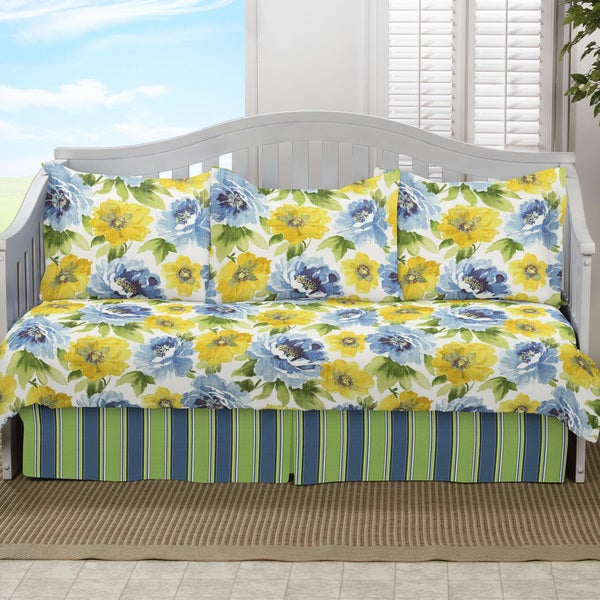 Gianna Floral 5-piece Yellow and Blue Daybed Set