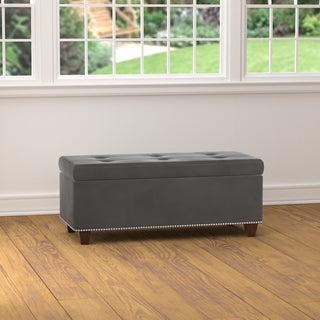 Portfolio Tufted Grey Velvet Bench Storage Ottoman
