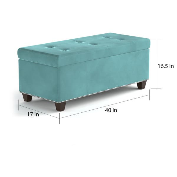 Terrific Shop Porch Den East Vienna Tufted Blue Storage Bench On Creativecarmelina Interior Chair Design Creativecarmelinacom