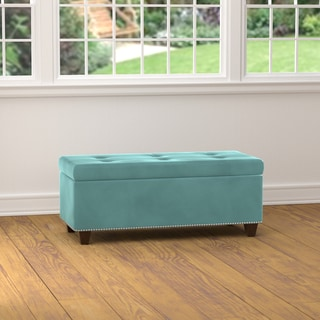 Handy Living Tufted Turquoise Blue Velvet Bench Storage Ottoman