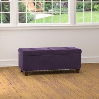 Handy Living Tufted Plum Purple Velvet Bench Storage Ottoman