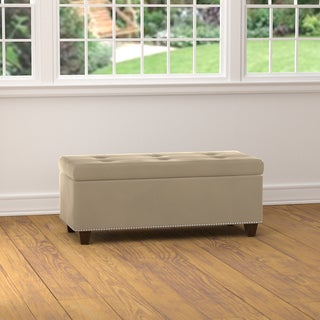 Handy Living Tufted Oatmeal Tan Velvet Bench Storage Ottoman