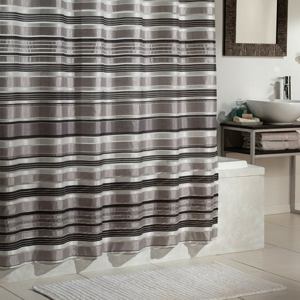 Shop Excell Glacier Grey Striped Shower Curtain