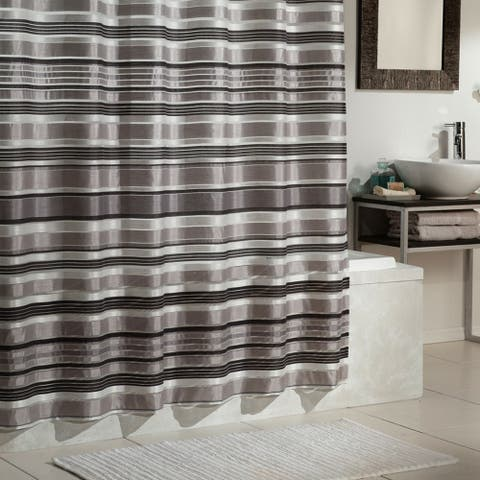 Excell Glacier Grey Striped Shower Curtain