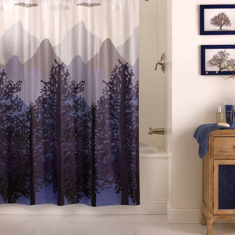 "Excell ""Misty Mountain"" Shower Curtain - Blue"