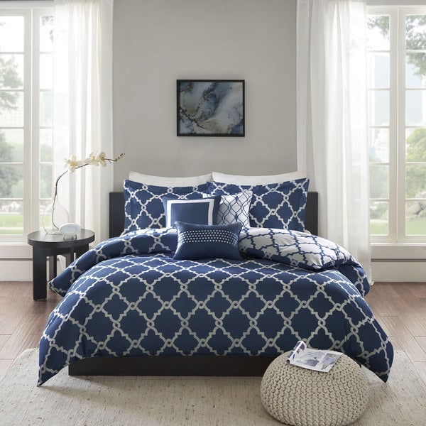 Madison Park Cole Navy Reversible Coverlet Set