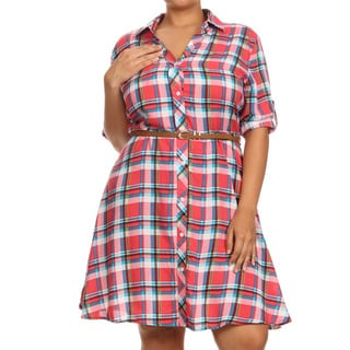MOA Collection Women's Multicolored Rayon Plus-size Plaid Button-down Tunic Dress