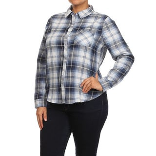MOA Collection Plus Size Women's Plaid Cotton Button-up Shirt