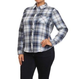 MOA Collection Plus Size Women's Plaid Cotton Button-up Shirt