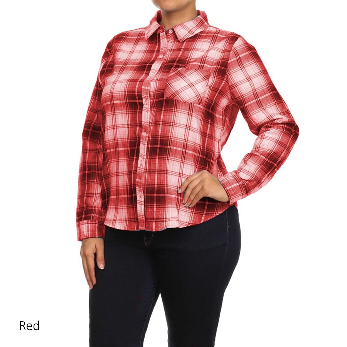5fad7665ad1cf Details about MOA Collection Plus Size Women s Plaid Cotton Button-up Shirt
