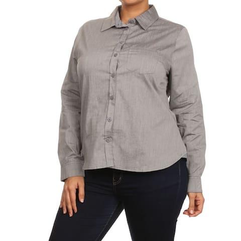 MOA Collection Women's Solid Cotton Plus-size Button-up Shirt