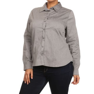 MOA Collection Women's Solid Cotton Plus-size Button-up Shirt