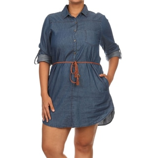 MOA Collection Women's Blue Cotton Denim Button-Up Plus-size Tunic