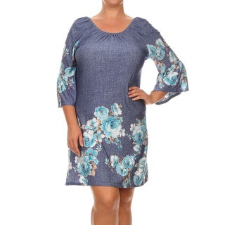 MOA Collection Women's Blue Polyester/Spandex Floral Plus-size Dress