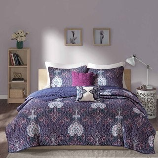 Intelligent Design Neeva Purple Coverlet Set