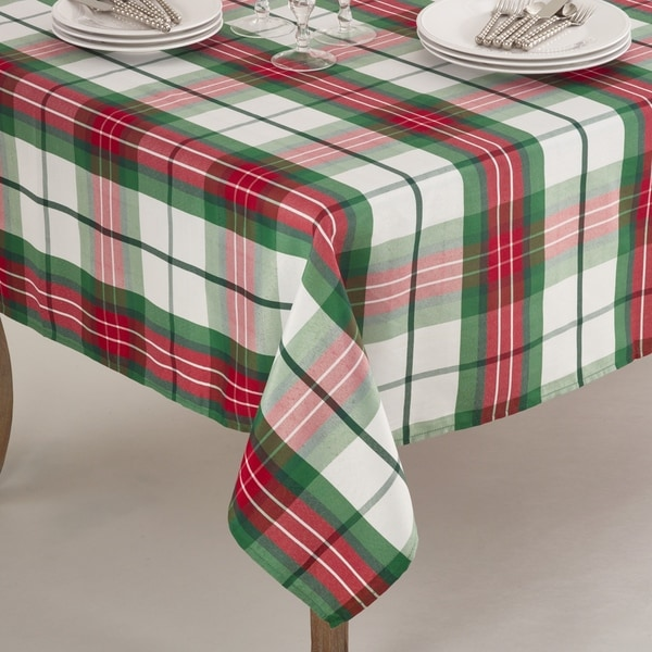Nice Vernor Collection Plaid Design Holiday Tablecloth