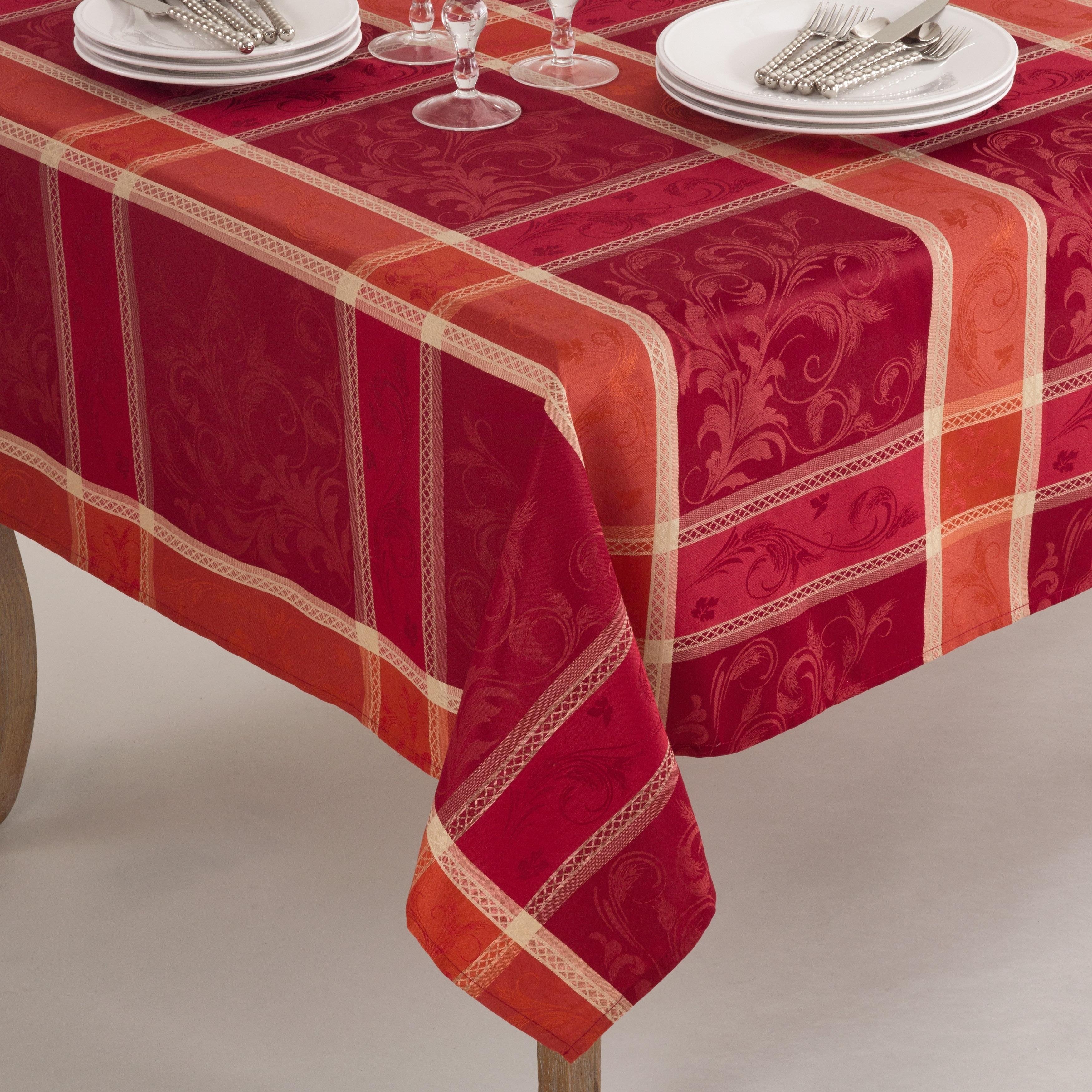 Saro Pumpion Collection Plaid Design Tablecloth (Oblong/7...