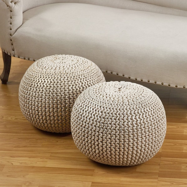 Cotton Twisted Foil Print Rope Pouf