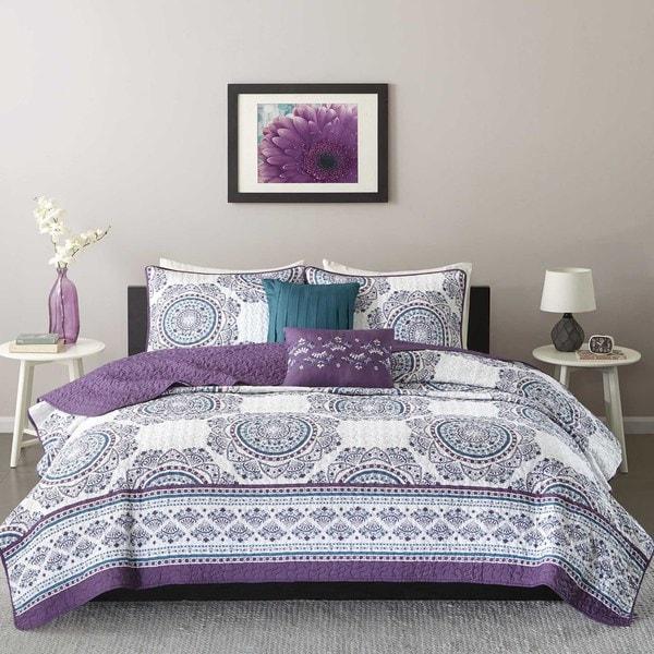 Intelligent Design Mikay Purple Coverlet Set