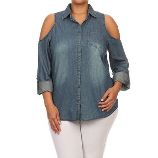 MOA Collection Women's Blue Cotton Denim Plus Size Button-up Shirt