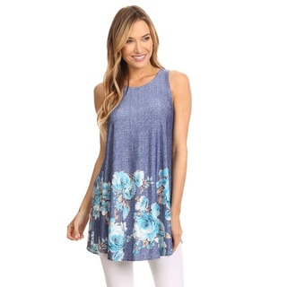 MOA Collection Women's Blue Polyester,Spandex Paisley Bottom Tunic Tank Top